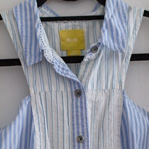 Anthropologie Maeve Blue Stripe Button Up Blouse